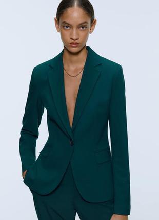 Зелёный пиджак жакет zara bottle green