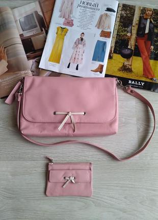 Кожаная розовая сумка