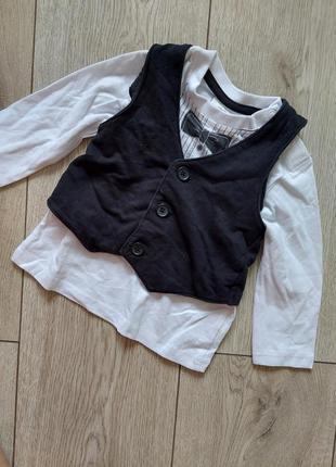 Брендовый лонгслив футболка для хлопчика жилет, смокинг смокінг для мальчика, нарядный костюм