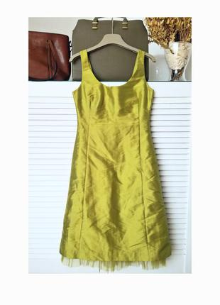 Роскошное шелковое миди платье нарядное оливковое миди платье h&m с фатином шелк