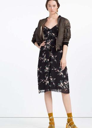 Zara платье сарафан платье в бельевом стиле с кружевом принт сакура zara
