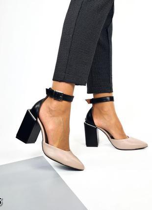 Туфли пудра+черная пяточка натуральная кожа каблук 9 см