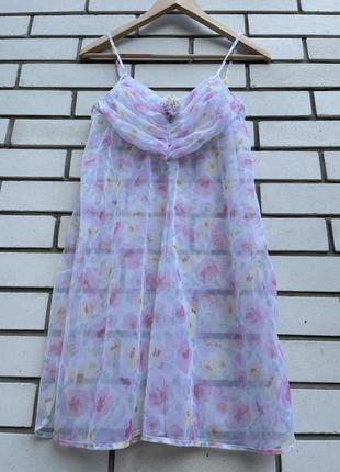 Винтажный красивый цветочный пеньюар из органзы пижама beldona