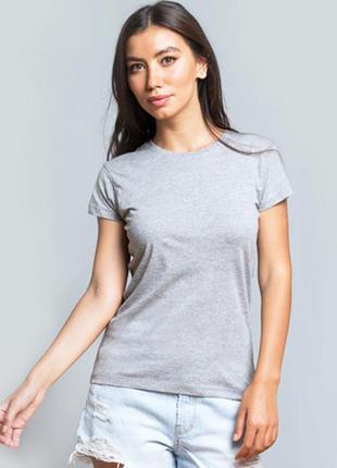 Серая меланжевая базовая футболка 100% хлопок