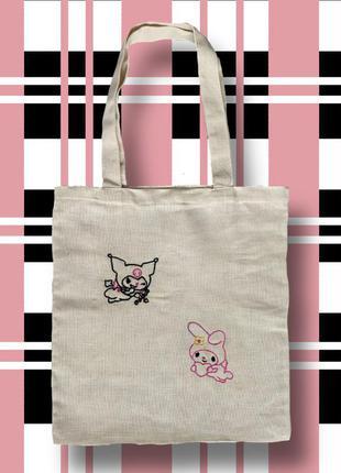 "Шоппер ""kuromi and melody"" (эко сумка) ручная работа, вышивка, свой дизайн"