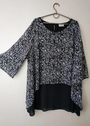 Шифоновая нарядная стильная блуза туника , двойная 54-56