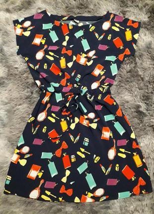 Лёгкое хлопковое короткое платье футляр туника с поясом, яркое свободное короткое тонкое платье с поясом