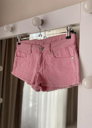 Розовые короткие джинсовые шорты шортики мини