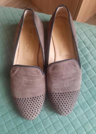 Туфлі,натуральна замша і шкіра