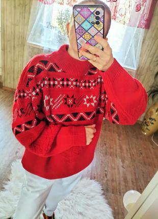 Новогодний оверсайз теплющий свитер в стиле вышиванка полушерсть lecomte