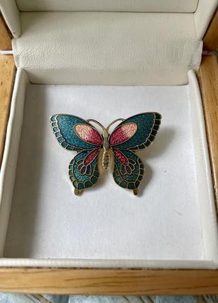 Винтажная брошь бабочка «клуазоне» эмаль американский винтаж