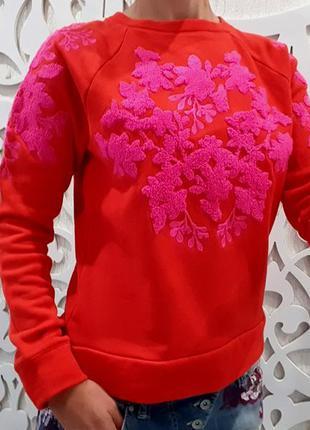 Свитшот h&m швеция xs/s красный яркий с розовой вышивкой травка свитер худи