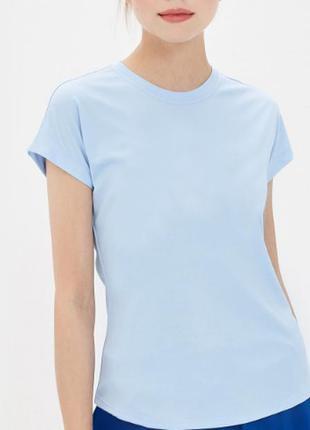 Голубая базовая футболка 100% хлопок размеры