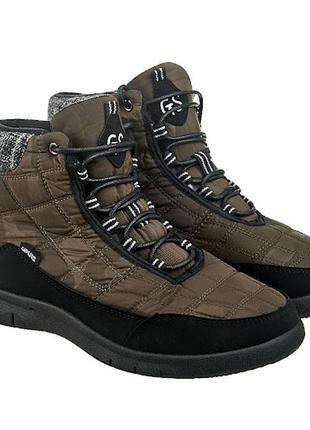 Дутые зимние ботинки цвет хаки 110155