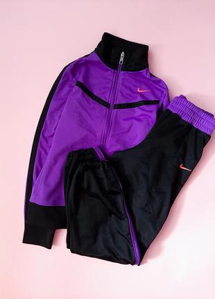 Спортивный костюм фиолетово-черный мастерка и джоггеры nike