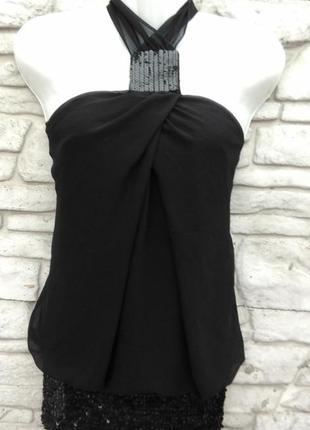 Нарядная блуза с паетками черного цвета elise ryan