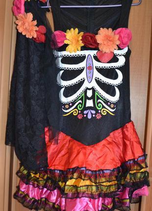 Женский карнавальный костюм на хэллоуин, платье, хеловин, хеллоуин, день мертвых
