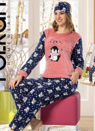 """Женская пижама теплая """"пингвины"""" размеры s, m, xl"""