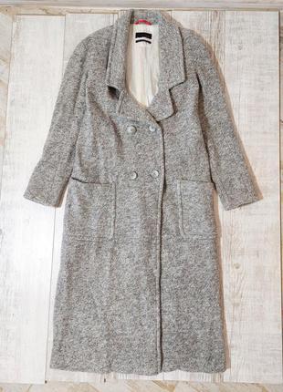 Шерстяное пальто серое длинное