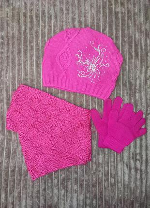Набор шапка перчатки хомут для девочки
