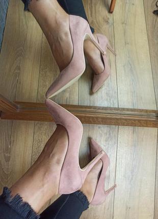 Пудровые лодочки туфли розовые нюдовые
