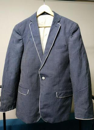 Пиджак оверсайз синий в тонкую полоску лен вискоза