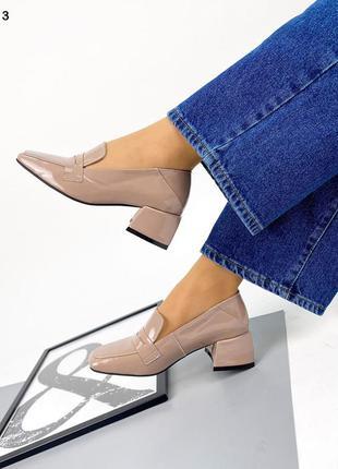Рр 36,38,41.бежевые туфли на каблуке из натуральной кожи