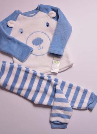 Теплая  красивая плюшевая пижамка, теплюща піжама ведмедик для хлопчика primark 92