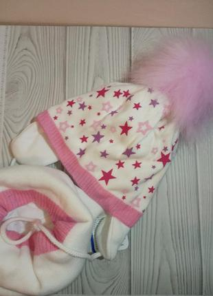 Шапка хомут зимний комплект набор для девочек agbo звезды польша