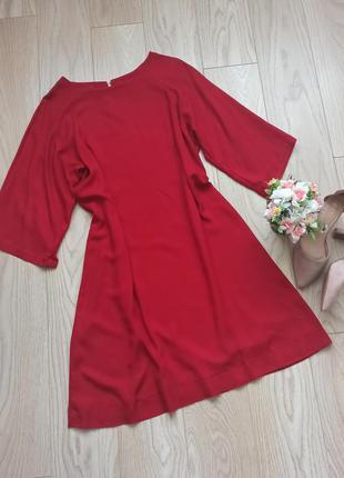 Красное прямое платье до колена, с широкими рукавами, xl-2xl