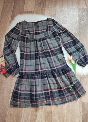 Женское теплое деми платье с длинным рукавом в клетку тренд mango mng