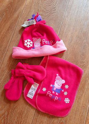 Новый комплект шапка шарф варежки р.18-24мес свинка пеппа