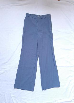 Штани, брюки, широкі, кльош, класичні, висока посадка, сині