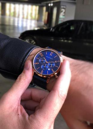 Мужские наручные часы с синим циферблатом