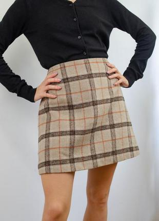 Primark короткая осенняя мини юбка в клетку с примесью шерсти, клетчатая мягкая спідниця