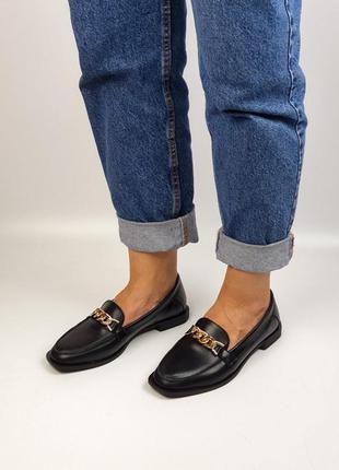 Туфли лоферы натуральная кожа чёрные балетки