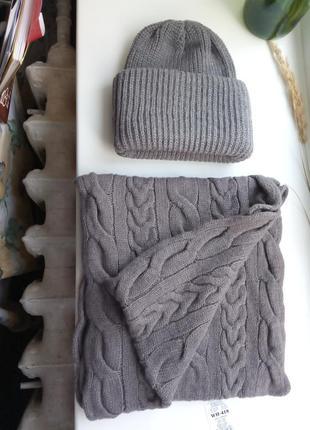 Набір шапка+снуд, шерсть