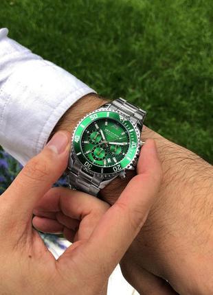 Мужские наручные часы с зелёным циферблатом