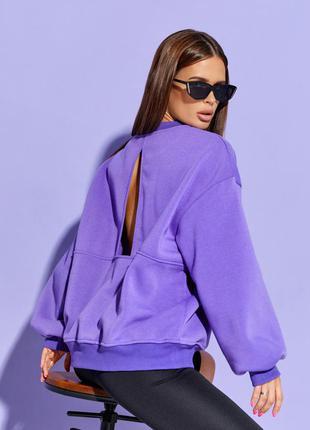 Фиолетовая утепленная толстовка с вырезом на спинке