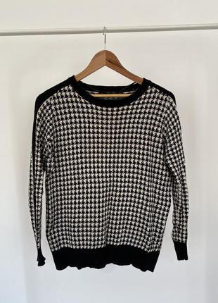 Теплий светр в гусячу лапку (свитер в гусинную лапку)
