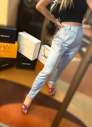 Атласные шелковые голубые штаны брюки