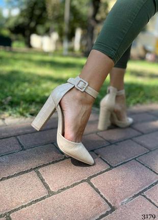 Рр 39-41.бежевые туфли на каблуке