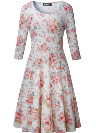 Сукня, плаття, measoul, принт квіти, рукав 3/4, еластичне, а-силует, міжсезонне