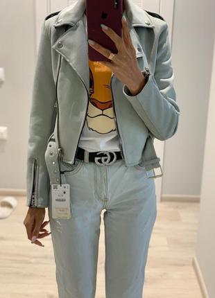 Куртка замшевая мятного цвета укороченная