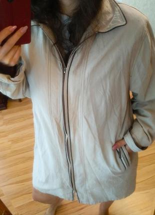 Стильная ветровка куртка  пальто замш велюр на подкладке, 56-60