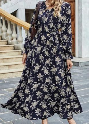 Довга сукня квітковий принт на довгий рукав