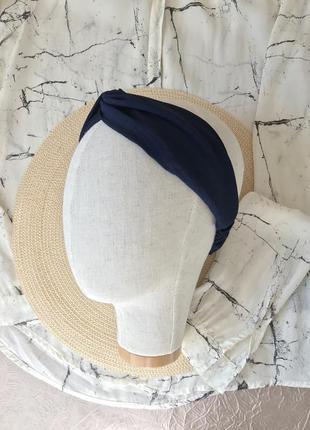 Тёмно-синяя повязка на голову/тюрбан