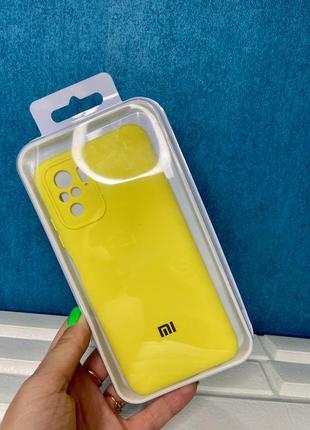 Силиконовый чехол с закрытым низом  redmi note 10 желтый