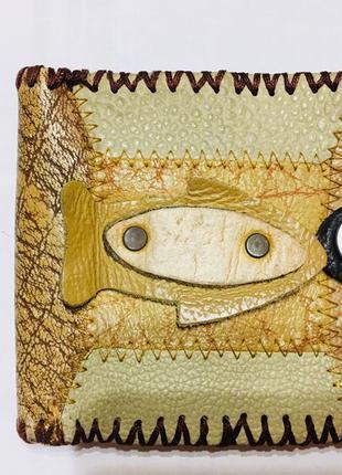 Кошелёк в морском стиле бежевый кожа hand made обмен