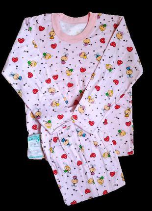 Пижама детская для девочки на байке хлопок размер 68